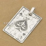 Deep Engraved High Detail Customize 925 Sterling Silver Spades A Pendant New Product - Bikers 4 Life Stuff - 5