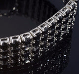 13.5 CTW No Tarnish 4 Row Black CZ Iced Out Mens Bracelet