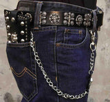 Men's skull studded Biker Rock Gothic Leather Wallet with a Long Key chain - Bikers 4 Life Stuff - 4