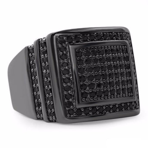 Mens CZ Rectangular Iced Out Black Finish Ring