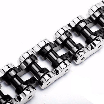 22mm Rocker Motorcycle Biker Links Silver / Black Stainless Steel Bracelets 9'' - Bikers 4 Life Stuff - 1
