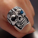 316L Stainless Steel Skull Blue Eye Cigar Ring - Bikers 4 Life Stuff - 4