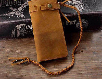 Long Vintage Lether Wallet With Chain For Biker - Bikers 4 Life Stuff - 1
