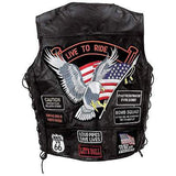 Mens Black Genuine Leather Motorcycle VEST w/ 14 Patches US Flag Eagle Biker - Bikers 4 Life Stuff - 2