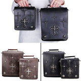 Gothic Cross Square Genuine Leather Messenger Shoulder Crossbody Bags - Bikers 4 Life Stuff - 1