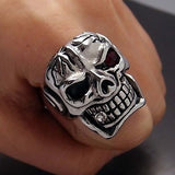 Huge Silver Skull Red Eye Cigar CZ 316L Stainless Steel Ring - Bikers 4 Life Stuff - 4