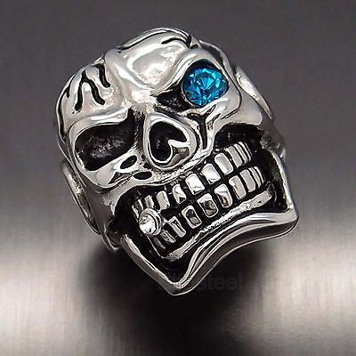 316L Stainless Steel Skull Blue Eye Cigar Ring - Bikers 4 Life Stuff - 1