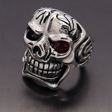 Huge Silver Skull Red Eye Cigar CZ 316L Stainless Steel Ring - Bikers 4 Life Stuff - 3