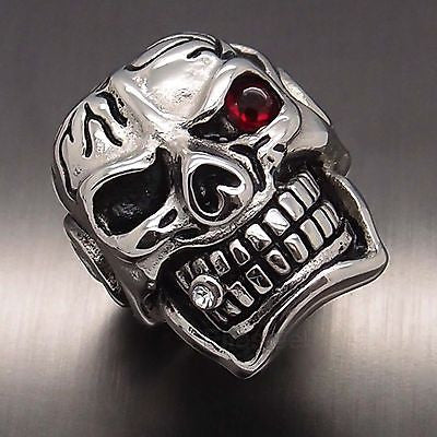 Huge Silver Skull Red Eye Cigar CZ 316L Stainless Steel Ring - Bikers 4 Life Stuff - 1