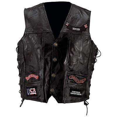 Mens Black Genuine Leather Motorcycle VEST w/ 14 Patches US Flag Eagle Biker - Bikers 4 Life Stuff - 1