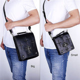 Gothic Cross Square Genuine Leather Messenger Shoulder Crossbody Bags - Bikers 4 Life Stuff - 12