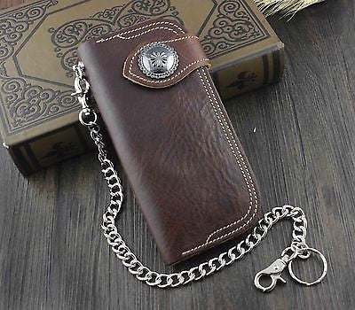 Brown metal snap Thick leather biker wallet with chain - Bikers 4 Life Stuff - 1