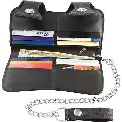 Embossed Black Leather BIFOLD TRUCKER WALLET on Chain Belt Biker Rocker Billfold