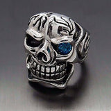 316L Stainless Steel Skull Blue Eye Cigar Ring - Bikers 4 Life Stuff - 3