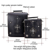 Gothic Cross Square Genuine Leather Messenger Shoulder Crossbody Bags - Bikers 4 Life Stuff - 5
