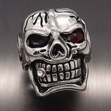 Huge Silver Skull Red Eye Cigar CZ 316L Stainless Steel Ring - Bikers 4 Life Stuff - 2