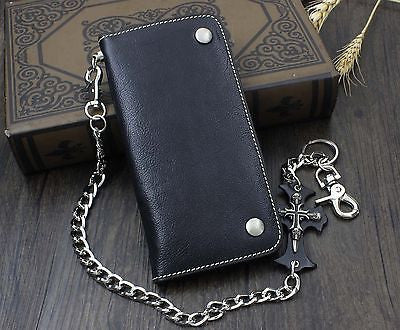 Genuine Leather Motorcycle Wallet Skull Pants Chain