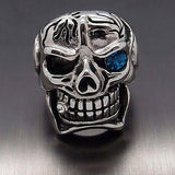 316L Stainless Steel Skull Blue Eye Cigar Ring - Bikers 4 Life Stuff - 2