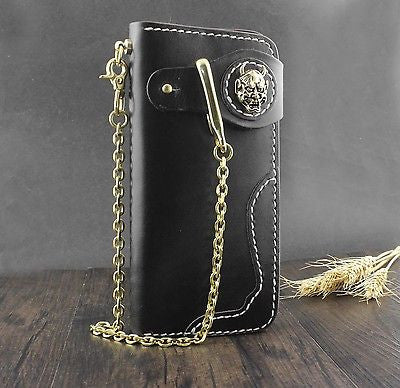 Skull Biker Wallet With Brass gold Key Chain - Bikers 4 Life Stuff - 1