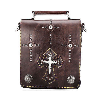 Gothic Cross Square Genuine Leather Messenger Shoulder Crossbody Bags - Bikers 4 Life Stuff - 13
