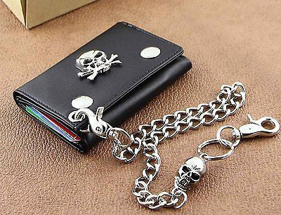 Mens Genuine Leather Biker Wallet With Skull Chain - Bikers 4 Life Stuff - 1