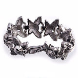 Men's women's  316L Stainless Steel Skull Leaf Cross Heavy Biker Bracelet 9'' New Product - Bikers 4 Life Stuff - 2