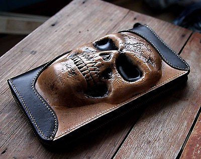 Huge Skull Head Real Leather Checkbook Wallet