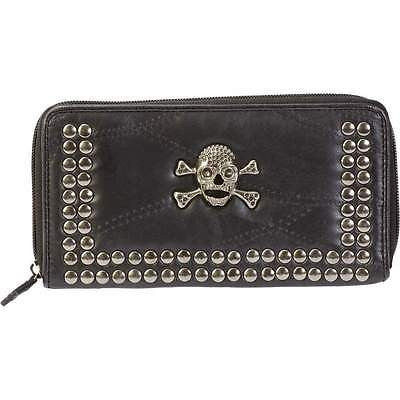 BLACK Lambskin LEATHER STUDDED SKULL WALLET