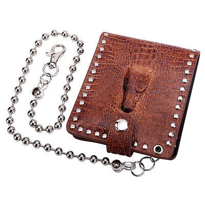 Brown Genuine Leather Coin Wallets for Men with Chain Crocodile ID Card Holder
