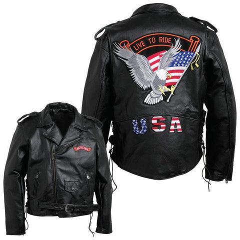 Mens Black Buffalo Leather MOTORCYCLE JACKET Coat Biker ZipOut Liner USA Patches - Bikers 4 Life Stuff - 1