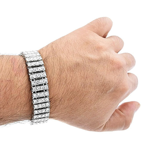 14k White Gold Plated 8.5in Iced Out 4 Row Pharaoh Bracelet 15mm
