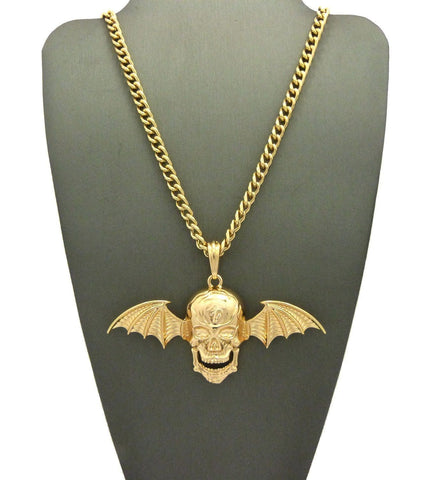 NEW SKULL WING AVENGED SEVENFOLD PENDANT 24'' 30'' CUBAN CHAIN NECKLACE