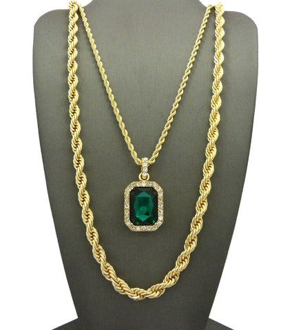 HIP HOP ICED OUT GREEN EMERALD STONE W/ 24'' 30'' ROPE CHAIN NECKLACE SET