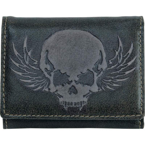 Black Leather Embossed SKULL TRI-FOLD WALLET