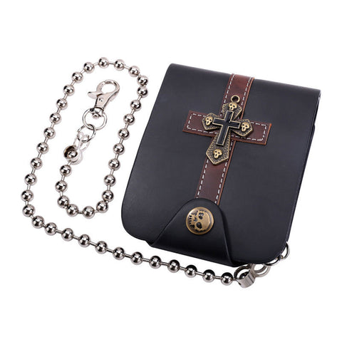 Genuine Leather Latin Cross Biker Wallet with Metal Chain - Bikers 4 Life Stuff - 1