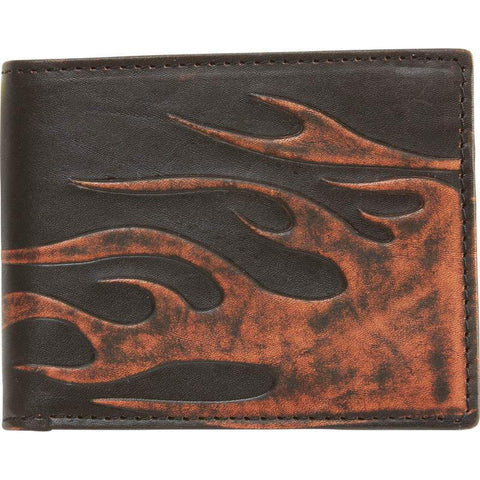 Black Leather Embossed Flame BI-FOLD WALLET
