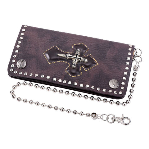 Genuine Leather Wallet Vintage Cross Biker Trucker Purse with Ball Chain