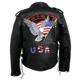 Mens Black Buffalo Leather MOTORCYCLE JACKET Coat Biker ZipOut Liner USA Patches - Bikers 4 Life Stuff - 3