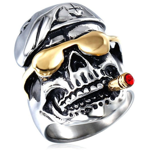 Golden Pirate Smoking Skull Ring