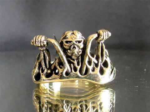 BRONZE CRAZY BIKER CUSTON HANDMADE RING