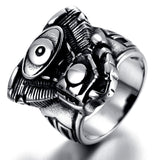 316L Stainless Steel Silver Biker Ring