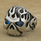 Fire Skull Aquamarine Eyes Ring