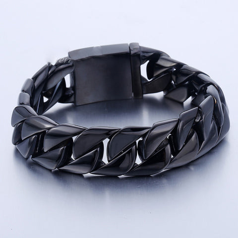 16mm Black Curb Cuban Bracelet