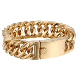 18mm Gold Plated Double Curb Bracelet