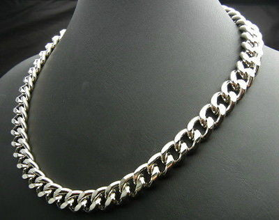 11mm Cuban Curb Heavy Chrome Plated Chain Necklace 18''