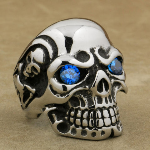 Dark Aquamarine Eyes Huge Heavy Solid 316L Stainless Steel Titan Skull Ring