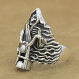 925 Sterling Silver Ghost Rider Biker Ring