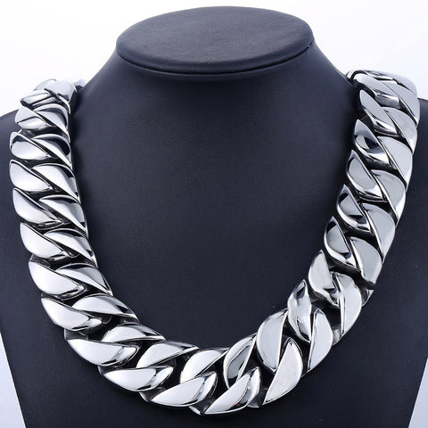 31mm Heavy Thick Silver Curb Necklace