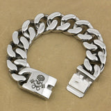 Deep Engraved 9 Lengths 316L Stainless Steel Skull Engine Biker Bracelet