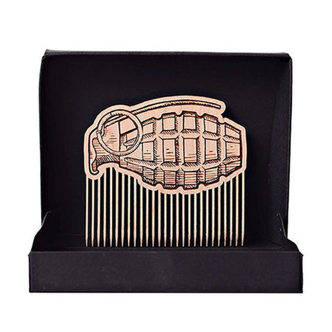 Grenade Beard Comb W/ Optional Leather Case